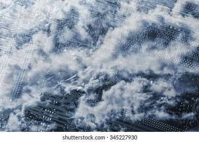 computers motherboard with cloudscape formations above
