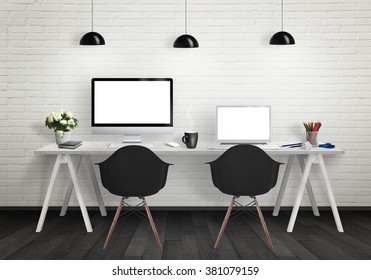 Computers on the desk in the office. Workplace with pc and laptop isolated displays for mock up. Chairs, lamps, flower, plant, pencils, cup of coffee on table.