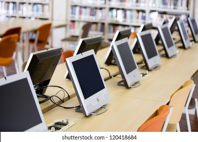 Computers room at the university or college library