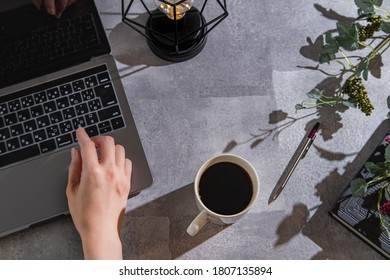 Computer/work at home or in a cafe while drinking coffee. Telework, work from home, and side jobs.