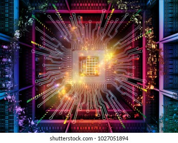 Computing Machine series. 3D illustration of CPU with fractal environment and suitable for use in the projects on computer science, digital world, virtual reality and modern technology