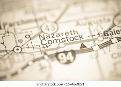 Comstock. Michigan. USA on a geography map.