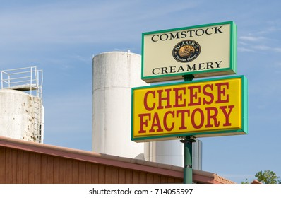 COMSTOCK, WI/USA - SEPTEMBER 3, 2017: Comstock Creamery and cheese store. Comstock Creamery is owned by the Ellsworth Cooperative Creamery.