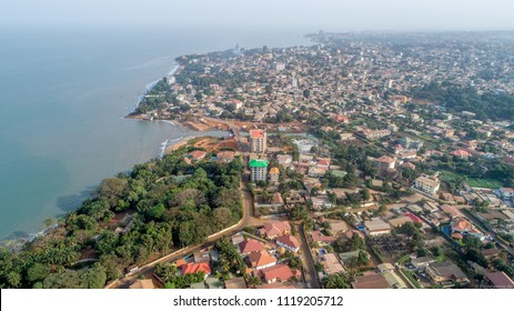 Conakry Aerial  drone shot capital Guinee