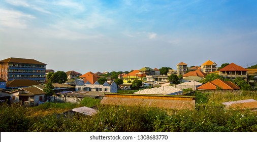 CONAKRY, GUINEA - Dec 15, 2018: Street scene in the outskirt of Conakry city.