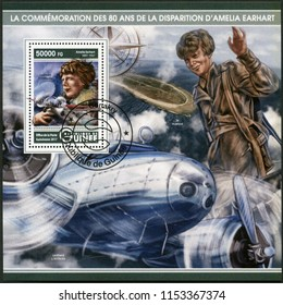 CONAKRY, GUINEA - MAY 22, 2017: A stamp printed in Republic of Guinea shows Amelia Mary Earhart (1897-1937), American aviation pioneer, 2017