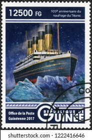 CONAKRY, GUINEA - MAY 22, 2017: A stamp printed in Republic of Guinea shows Titanic, 2017