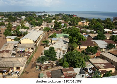 Conakry,Guinea - 11.12.2011: Poor african neighbouhood from the top of a building with atlantic ocean view