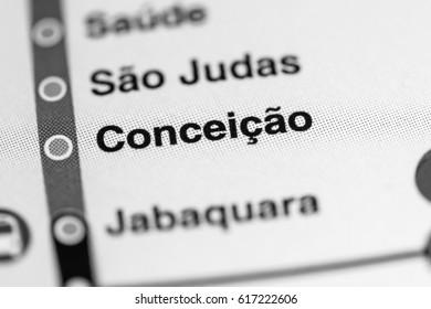 Conceicao Station. Sao Paolo Metro map.