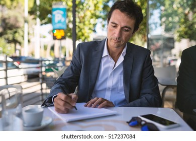 Life Essays Concentrate Middle Age Businessman Portrait Writing An Essay Outdoors In  Rome Italy Essay On Effective Communication also Toefl Essay Topic Happy Middle Age Businessman Portrait Drinking Stock Photo Royalty  The Features Of A Compare And Contrast Essay Include