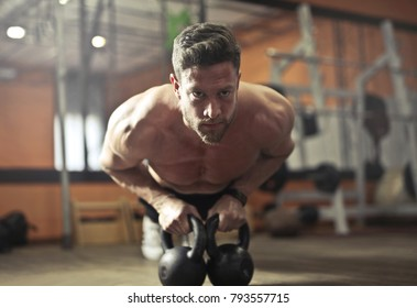 Concentrated athlete at the gym