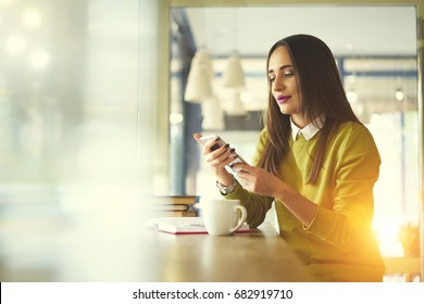 Concentrated attractive administrative manager browsing website on smartphone for online banking,beautiful brunette businesswoman dialing number on mobile for making call sitting near blurred area