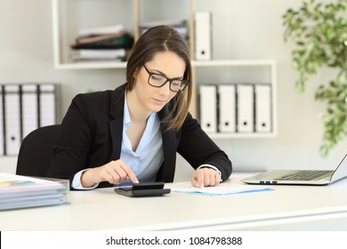 Concentrated bookkeeper doing accounting at office