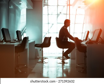 Concentrated businessman working in the business room