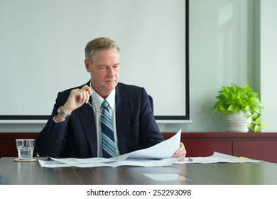 Concentrated experienced businessman looking at construction layout