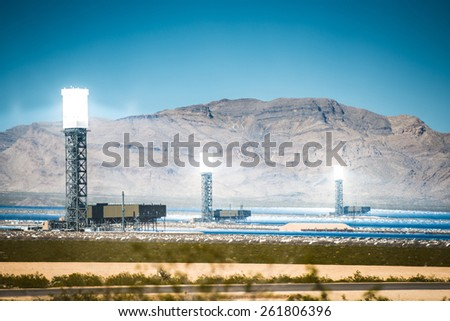 Concentrated Solar Thermal Plant in the California Mojave Desert, United States.