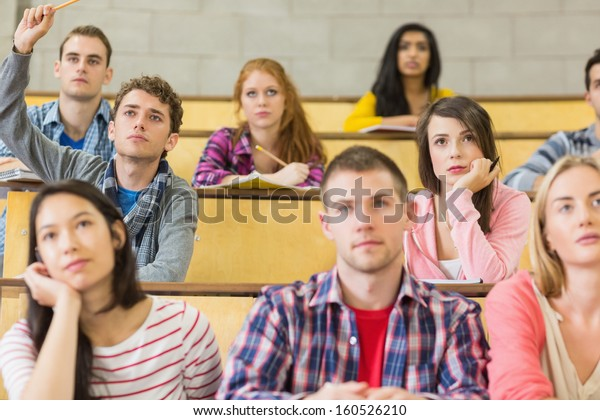 Concentrating students sitting at the college lecture hall