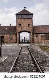 Concentration Camp - front gate  (Auschwitz II)