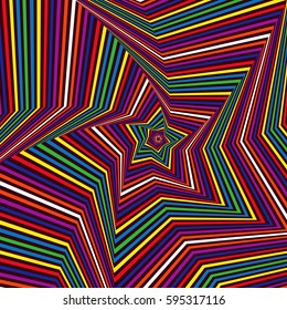 Concentric five-pointed star shapes forming the digital sequence with swirl pseudo 3D effect, abstract pattern in many colors