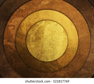 concentric round old gold plates
