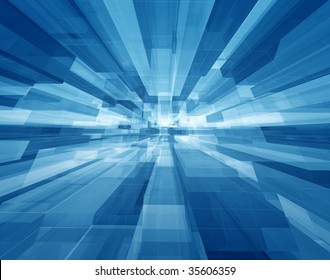 Concentric transparent blue cubes structural three dimensional dynamic background