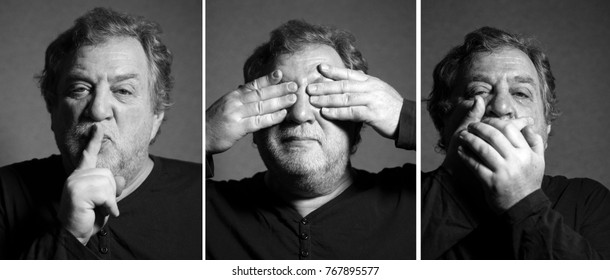 concept with 3 black and white portraits of middle aged caucasian man: be silent, do not look, close your mouth
