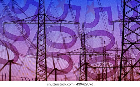 Concept 500 Euro bills and energy infrastructure power supply composition