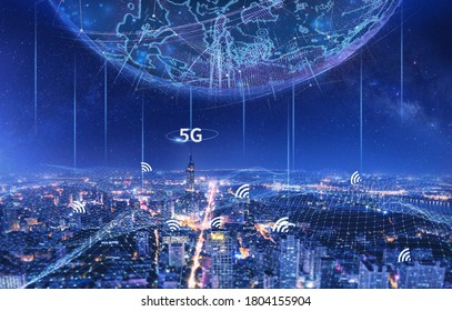 concept of 5G network, new generation networks. high-speed mobile Internet, Business, modern technology, internet and networking concept. 3d illustration, 3d rendering - Shutterstock ID 1804155904