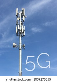 Concept 5G Spectrum in telecommunication industry. Telecommunication tower for GSM.