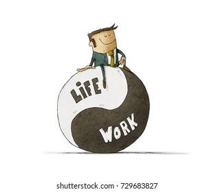 Concept about balance work and life. Life coach give advice about work-life balance. Isolated, white background.