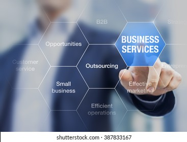 Concept about business services sector with business-to-business relations and outsourcing, businessman in background