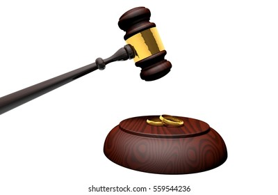 Concept about divorce or marriage. Gavel or ceremonial mallet and marriage alliances. Isolated. 3D Rendering.