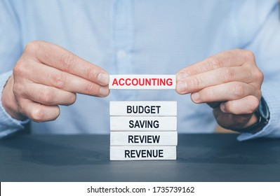 Concept of Accounting with basic links. Wooden blooks with text.