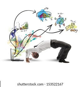 Concept of acrobatic business with man and laptop
