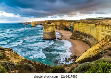 The concept of active and phototourism. Rocks of the coastal strip of the Twelve Apostles. The Great Ocean Road. The morning on the Pacific coast near Melbourne