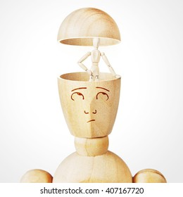 Concept of alter ego in the human mind. Abstract image with a wooden puppet