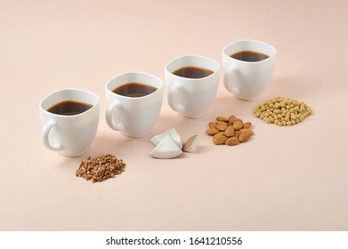 Concept alternative to cow's milk for making cappuccino.  For the preparation of milk for cappuccino use coconut, soy, almonds, buckwheat.  Light background.  Close-up.