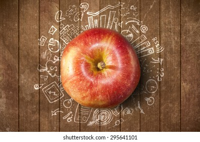 Concept with apple and business doodles on grunge background