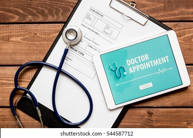 concept of appointment to doctor online top view