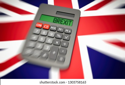 Concept around the political issue of Brexit in the UK and Europe. Finance and money with a calculator