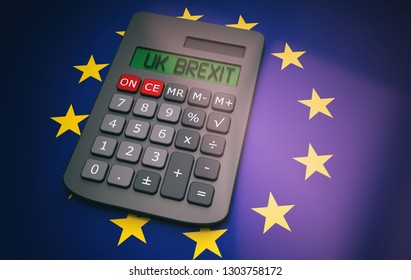 Concept around the political issue of Brexit in the UK and Europe with a calculator.