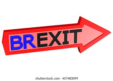 Concept: arrow with the word Brexit, isolated on white background. 3D rendering.