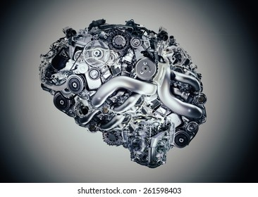 concept of artificial brain of robot composed of gears. Futuristic concept of neurology, isolated on gray background
