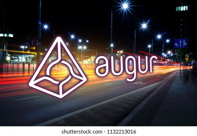 Concept of  augur coin  moving fast  on the road, a Cryptocurrency blockchain platform , Digital money