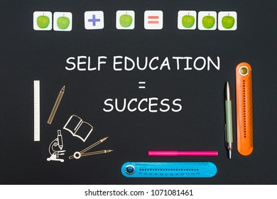 concept back to school, above stationery supplies and text self education success on black backboard