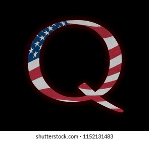 Concept background illustration with US Flag for QAnon or Q Anon, a deep state conspiracy theory