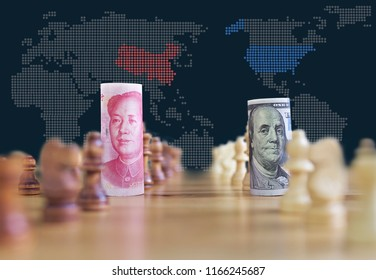 concept background of US China trade war banknotes on chess board