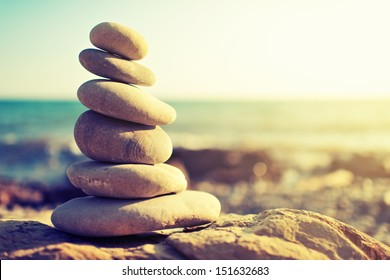 concept of balance and harmony. rocks on the coast of the Sea in the nature