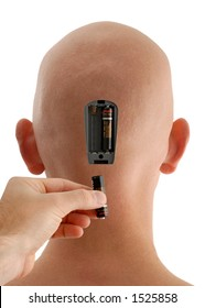Concept of Batteries Being Inserted into a Bald Head