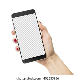 The concept of beautiful female hand with painted nails is holding a modern mobile phone with a transparent screen.Iisolated on white with clipping path.